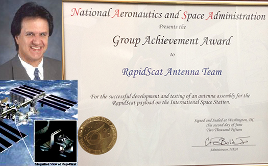 Distinguished Professor Yahya Rahmat-Samii Receives NASA Group Achievement Award for his work on International Space Station RapidScat Antenna Design.