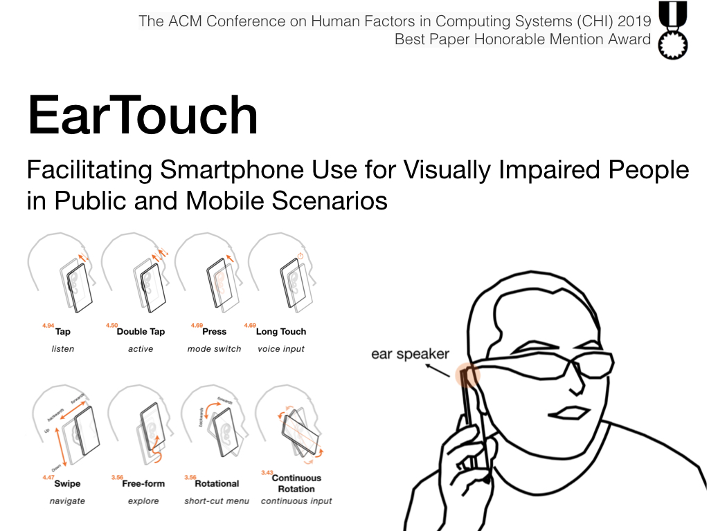 EarTouch Facilitating Smartphone Use for Visually Impaired People  in Public and Mobile Scenarios