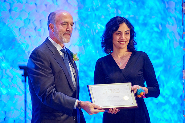 Prof. Mona Jarrahi receives the inaugural Watanabe Excellence in Research Award from the UCLA HSSEAS.