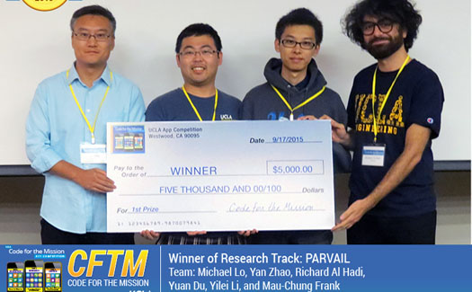 UCLA EE's Team Parvail wins first place in UCLA Code for the Mission Mobile App Development Competition