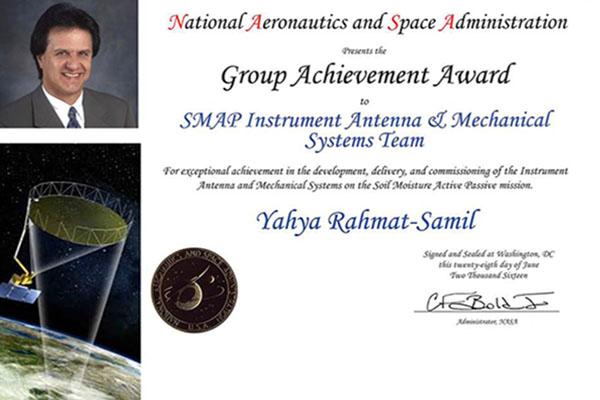Distinguished Prof. Yahya Rahmat-Samii Receives NASA Group Achievement Award for his work on SMAP flight mission