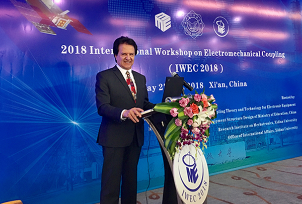 Distinguished Prof. Rahmat-Samii was the Keynote Speaker at 2018 Int'l Workshop on Electromechanical Coupling, China