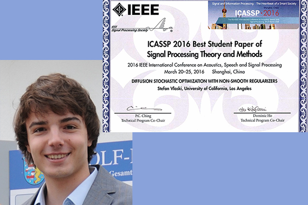 Prof. Ali Sayed's Ph.D. student, Stefan Vlaski receives Best Paper Award