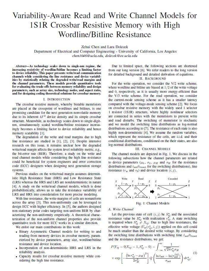 Variability-Aware Read and Write Channel Modelsfor 1S1R Crossbar Resistive Memory with HighWordline Bitline Resistance