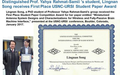 Lingnan Song, Prof. Rahmat-Samii's student, received 1st Place in the '17 Ernest K. Smith USNC-URSI Student Paper Competition.