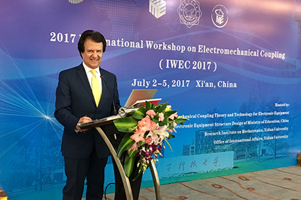 Distinguished Prof. Rahmat-Samii was the Plenary Speaker at 2017 Int'l Workshop on Electromechanical Coupling, China